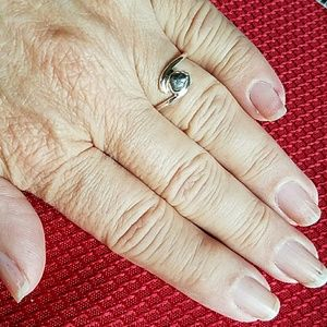 Earth Art hand crafted artisan Jewelry - Natural Rough Real Diamond Ring Sterling Silver